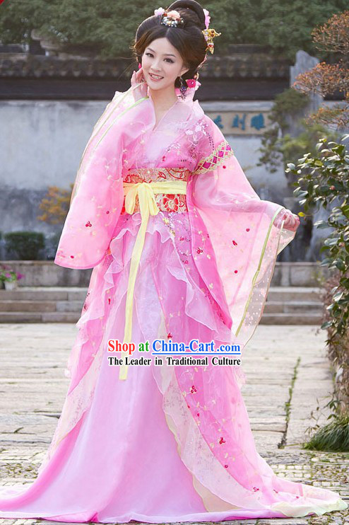 Traditional Chinese Romantic Pink Tang Dynasty Princess Clothing