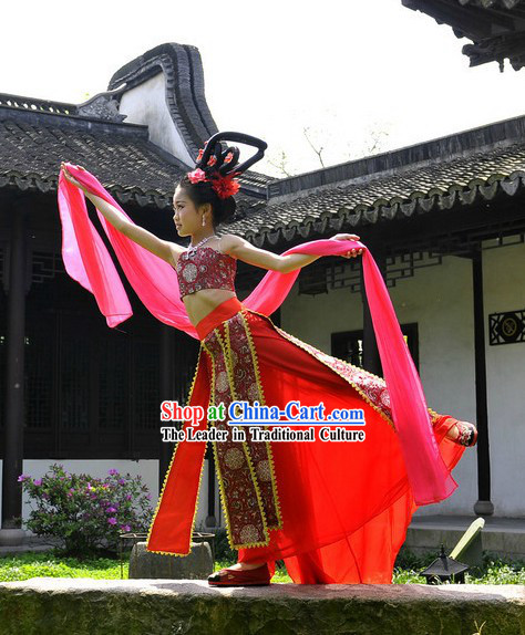 Ancient Chinese Palace Dance Costume and Fairy Wig for Kids