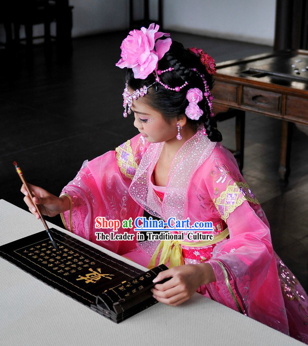 Ancient Chinese Pink Princess Costumes for Children