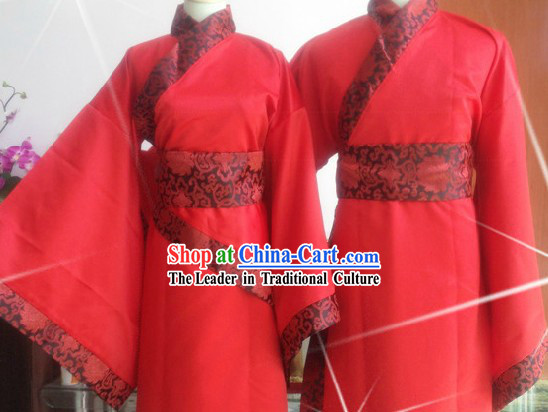 Ancient Chinese Red Wedding Dresses Two Sets for Men and Women