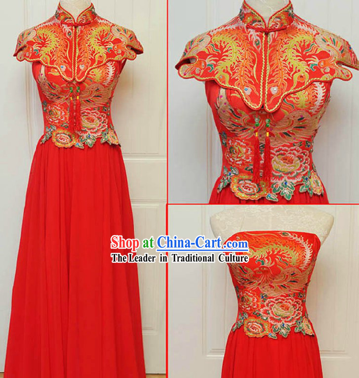 Traditional Chinese Phoenix Wedding Evening Dress