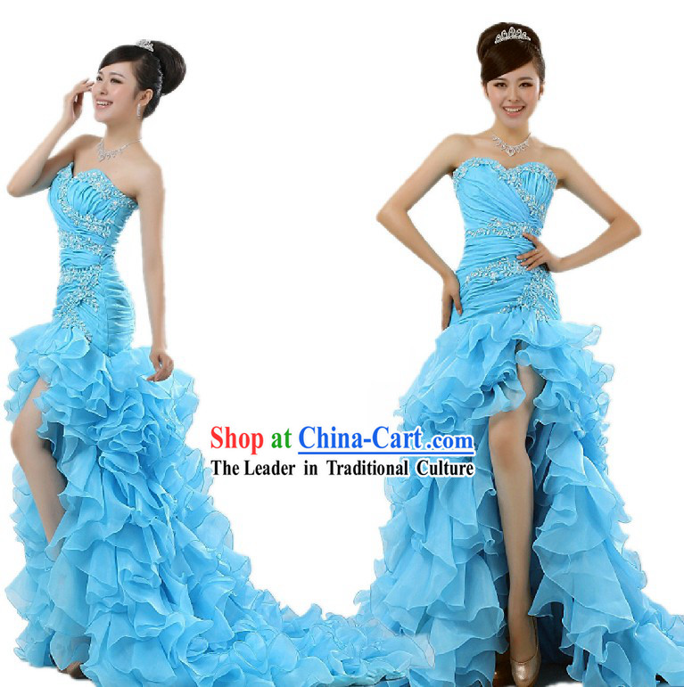 Chinese Romantic Blue Evening Dress for Women