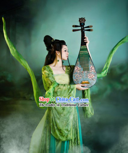 Ancient Chinese Green Fei Tian Fairy Dance Costumes