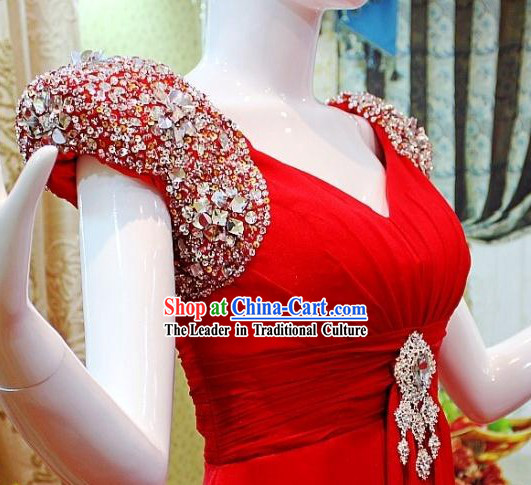Stunning Red Shinning Shoulder Evening Dress