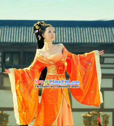 Ancient Chinese Palace Yang Yuhuan Orange Costume