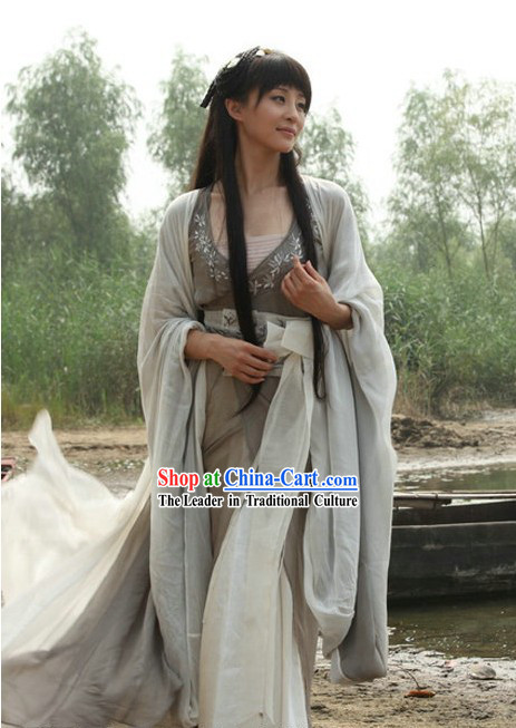 Ancient Chinese Kung Fu School Leader Grey Costumes for Women