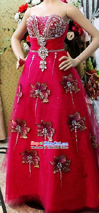 Shinning Chinese Wedding Ceremony Evening Dress