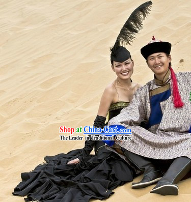 Ancient Mongolian Clothing and Hat for Men and Women