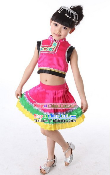 Traditional Chinese Yi Minority Stage Performance Dance Costume for Kids
