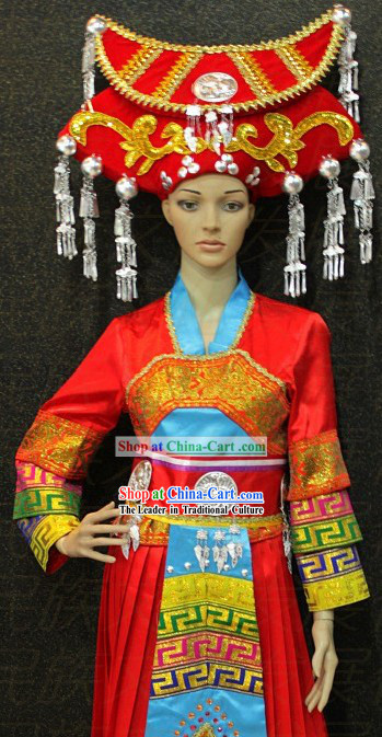 Chinese Zhuang Ethnic Clothing and Hat for Women