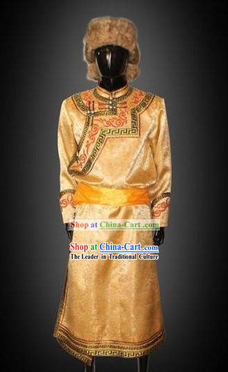 Traditional Chinese Mongolian Clothing and Hat Complete Set