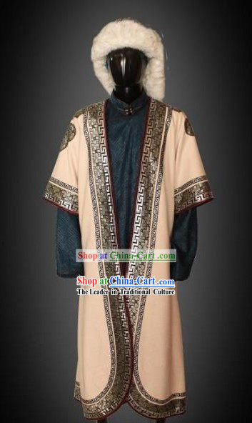 Traditional Chinese Mongolian Clothing and Hat Complete Set for Men