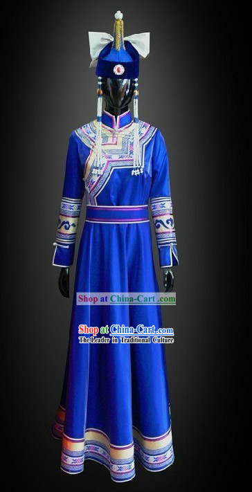 Traditional Chinese Mongolian Princess Costumes and Hat Complete Set for Women
