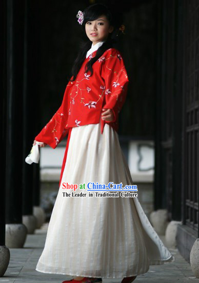 Ancient Chinese Ming Dynasty Red Wedding Dress Complete Set for Brides