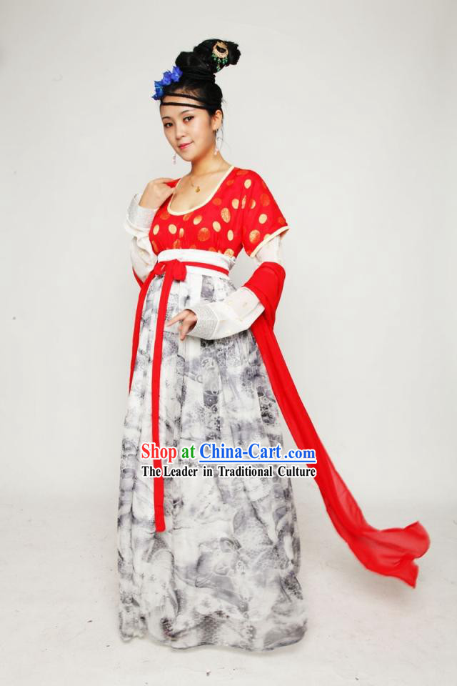 Ancient Chinese Tang Dynasty Maid Clothing Complete Set for Women