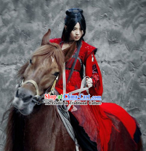 Ancient Chinese Red Female Knight Costumes
