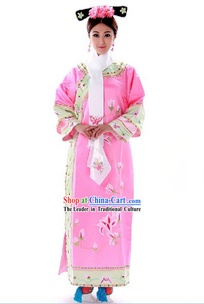 Chinese Manchu Qing Dynasty Pink Princess Costumes for Women