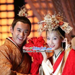 Ancient Chinese Prince Wedding Hair Accessories for Men and Women