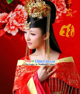 Ancient Chinese Bride Wedding Phoenix Hair Accessories Complete Set for Women