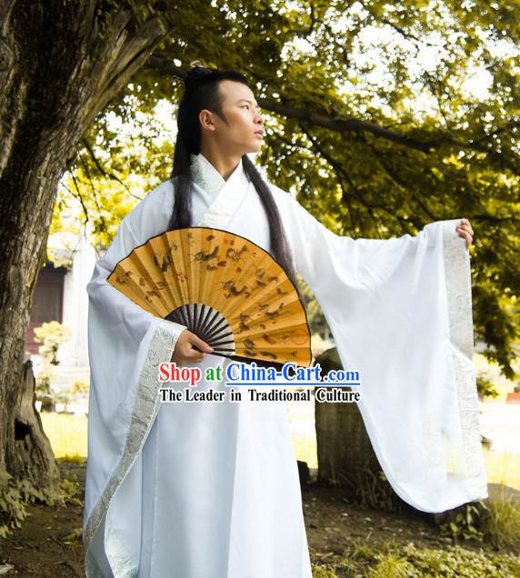 Ancient Chinese Plain White Hanfu Costume for Men