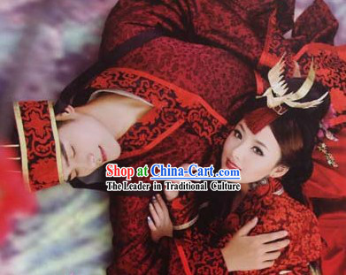 Ancient Chinese Wedding Dresses Two Sets for Men and Women