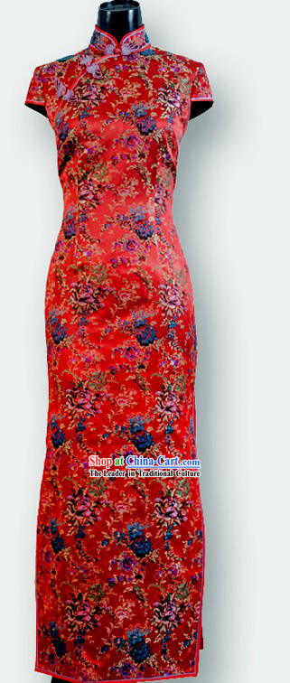 Traditional Chinese Red Wedding Cheongsam for Women