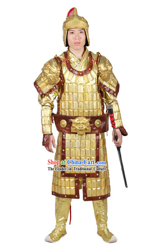 Ancient Chinese General Armor Costumes and Hat for Men