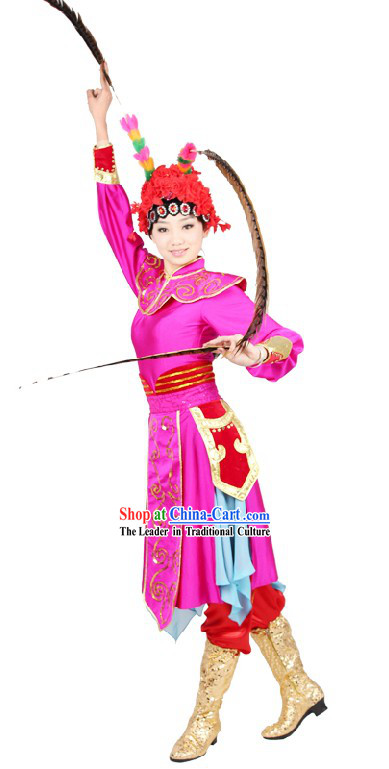 Chinese Classical Peking Opera Stage Performance Dance Costume and Hat for Women