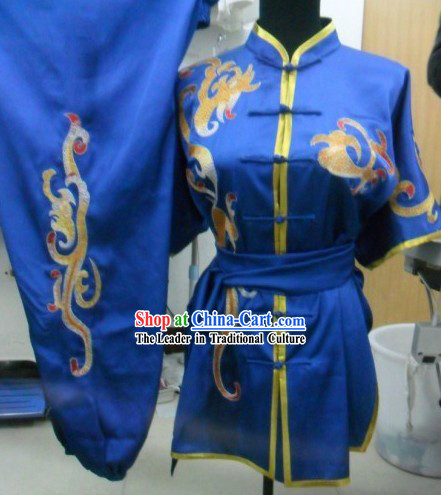 Chinese Classical Blue Embroidered Phoenix Tail Tai Chi Uniform