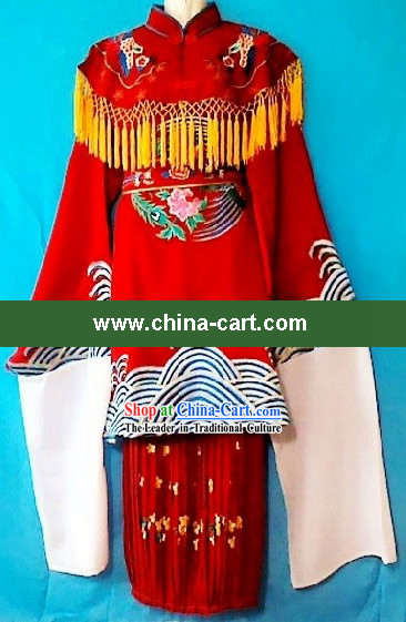 Ancient Chinese Bride Embroidered Phoenix Wedding Dress and Phoenix Crown for Children
