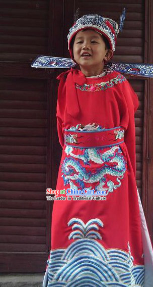 Ancient Chinese Bridegroom Embroidered Dragon Wedding Dress and Hat for Children