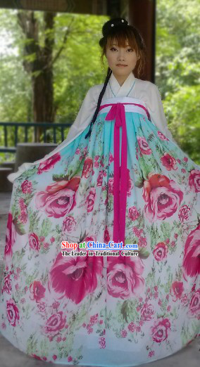 Ancient Chinese Tang Dynasty Summer Wear Flower Ruqun Outfit for Girls
