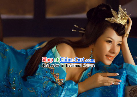 Blue Ancient Chinese Three Kingdoms Xiao Qiao Beauty Costumes for Women