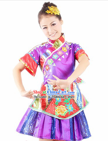 Traditional Chinese Miao Ethnic Dance Costumes and Headwear for Women