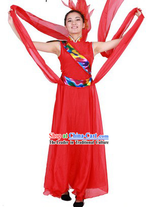 Stage Performance Han Minority Long Ribbon Dance Outfit for Women