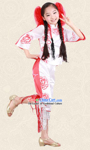 Red and White Chinese Papercut Dance Costume and Headwear for Kids