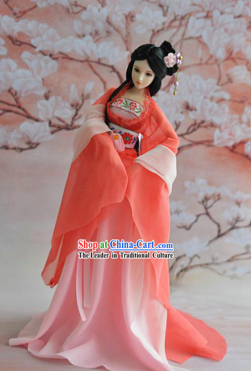 Orange BJD Dolls Guzhuang Costumes Complete Set