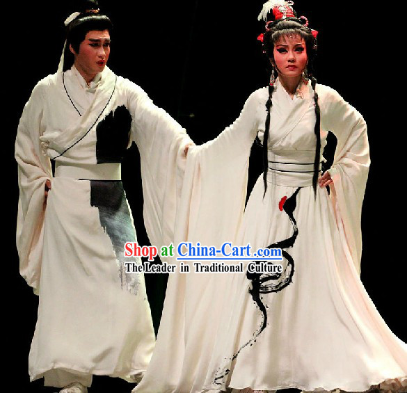 Traditional Chinese Huangmei Opera White Crane Costumes Two Complete Sets for Women and Men