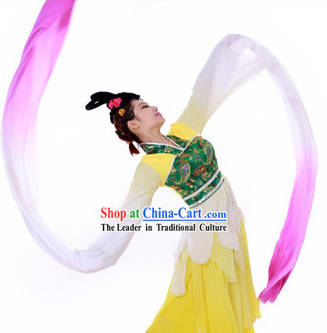 Traditional Chinese Long Sleeves Dance Costumes and Headpieces for Women