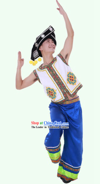 Traditional Chinese Yi Minority Jacket Clothes and Headpieces for Men
