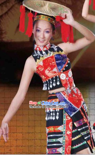 Traditional Chinese Dai Dresses and Hat Complete Set for Women