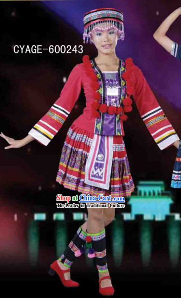 Traditional Chinese Miao Dance Dresses and Hat Complete Set for Men