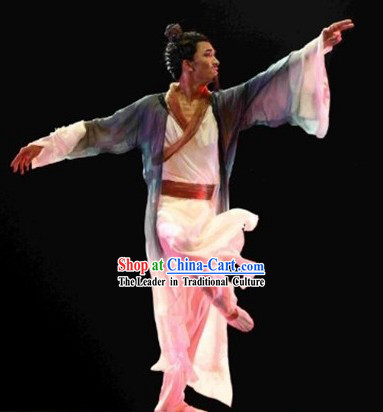 Chinese Classical Dance Costume and Hair Accessories Complete Set for Men