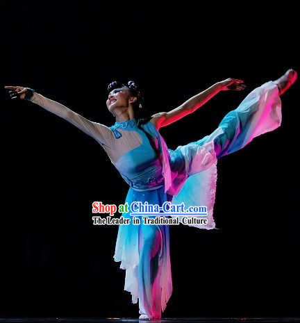 Chinese Classical Dance Costume and Hair Accessories Complete Set for Women