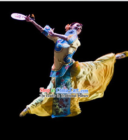 Stage Performance Chinese Classical Fan Dance Costumes and Headwear for Women