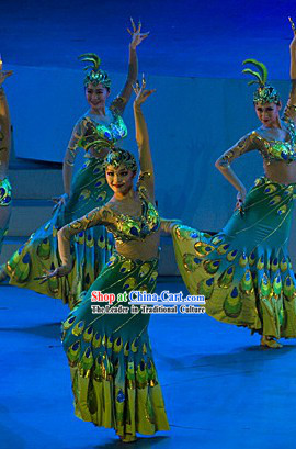 Stage Performance Peacock Dai Princess Ethnic Dancing Costumes and Headwear Complete Set for Women