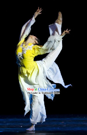Chinese Classical Magnolia Dance Costumes and Headgear Complete Set for Women