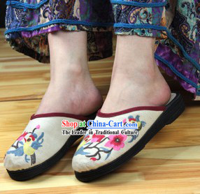 Traditional Chinese Handmade Cotton Slippers with Thick Cotton Sole