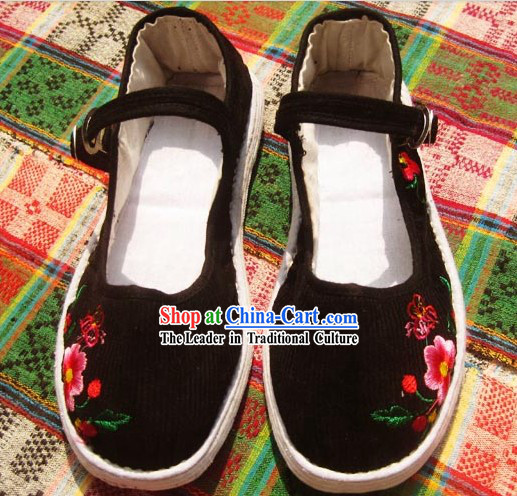 All Handmade Chinese Black Thick Sole Cotton Shoes for Women