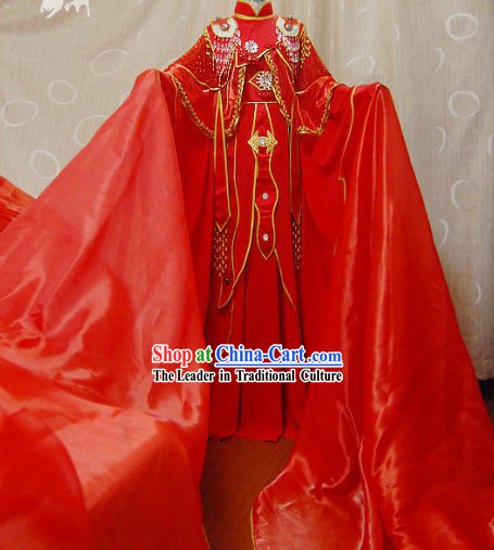 Ancient Chinese Red Wedding Dress Cosplay Complete Set for Women